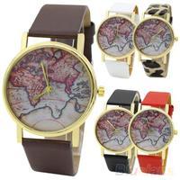 Men's Women's World Map Faux Leather Strap Quartz Analog Casual Wrist Watch