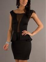 2015 Women Party Dress Mesh patchwok Pencil Dress o-Neck Black Dress mini Bodycon Club Wear for Ladies