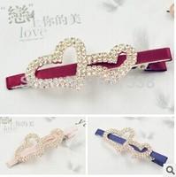 handmade heart shape hair accessory rhinestone Full Crystal hair clips Hair Clip pairs mix 12 pcs/lot