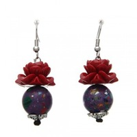 Free Shipping 10 Pair Retro Ethnic Style Red Rose Hook Earrings Ear Studs Party Gift Fashion #30901