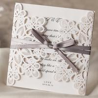 1 Set Sample Of Laser Cut White Wedding Invitations Wishmade (1 Card +1 Ineer sheet +1 Envelope+1 seal) WM207