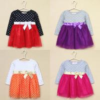 5pcs/lot new arrival girls spring long sleeve patchwork tutu dresses kids princess dress with bow 1142
