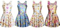 New Fashion Women Skated Emoji Clothing Casule Emoji Dress Round Collar Girls Dress Skater Dress Summer Dress