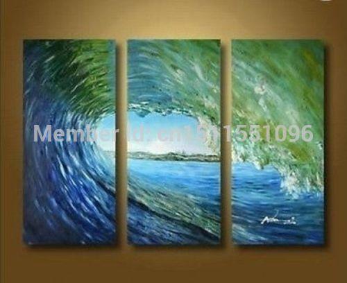 Lindo ~ grande oceano Seascape pintura a óleo sobre tela de arte - ondas(China (Mainland))