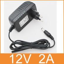 1PCS 12V2A AC 100V-240V Converter Adapter DC 12V 2A 2000mA Power Supply EU Plug  5.5mm x 2.1-2.5mm for LED CCTV Free  shipping(China (Mainland))