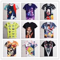 free shipping 2015 new men's short sleeve tshirts Europe and America Hot models flowers/animal/cartoon print 3d t shirt 21models