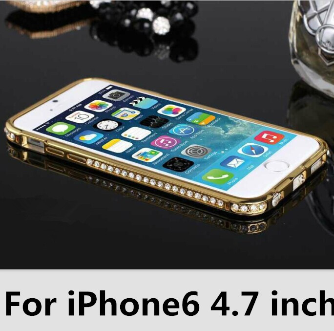 New 2015 Luxury Crystal Rhinestone Diamond Bling Case Cover Bumper For iPhone 6 4.7 inch Cell Phones cases Bumper Hot sale(China (Mainland))