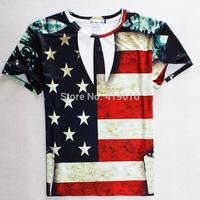 2015 new summer flow short sleeved T-shirt, flag 3D star man short sleeve T-shirt