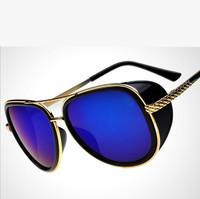 2015 New Men Sunglasses Star Style Steampunk Metal Shades Retro UV400 Protection Sun-shading Riding Glasses EyeWear Goggles