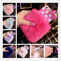 "CA02 Bling Rhinestone Diamond Bow Lips Plush Rabbit Bow Fur Hard Back Case cover for iPhone 4 4S/ 5 5S 6 G 4.7""/ 6 Plus"