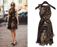 2015 summer dress new European Fashion leopard sleeveless irregular wave swing dress women Elegant Sexy Lotus Dresses