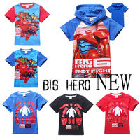 2015 New summer Big Hero 6 boys 100% Cotton casual fashion hooded T shirts 6 designs for kids baymax print Boys tee 15 pcs lot
