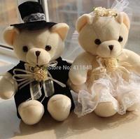 "1Pair Couple Bridesmaid Teddy Plush Bear Flower Girl valentine's day  Wedding Gift WEDDING GIFT Figure Dolls ""Love You"""