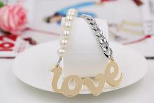 Free Shipping Statement Chocker Necklace Half Chain Half Pearl Plated L O V E Pendant love