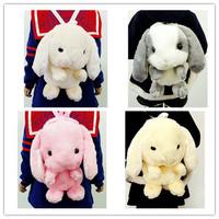 2015 Japanese Style Women Fashion Lolita Cute Cartoon Plush Bigger Ear Rabbit Backpacks Students Plush Rabbit Backpacks 2165