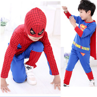 2015 spring autumn cotton cartoon baby boy clothes children clothing spider-man superman girls clothing set 2-10years