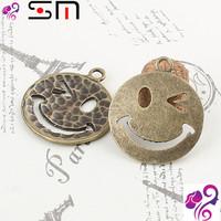 26*23mm Zakka Antique bronze diy alloy jewelry accessories wholesale, vintage smiley face charms pendant, smile smiling charm