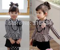 Hot Sale Girl's Long Sleeve Plaid Princess Dress Children Fashion Mini Dress Girl Necelace Princess Dress Kids Clothing Dresses