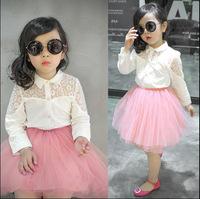 Wholesale(5pcs/lot)-2015 spring lace cotton white shirt for child girl