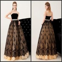 High Quality A-Line Prom Dress Strappless Sleeveless Beading Lace Floor Length Quinceanera Dresse Custom Make