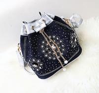 2015 New Blue Denim Canvas Diamond Weave Women Bucket Bag Rhinestone Rivet Women Messenger Bags Shoulder Cross Chain Bag 6037