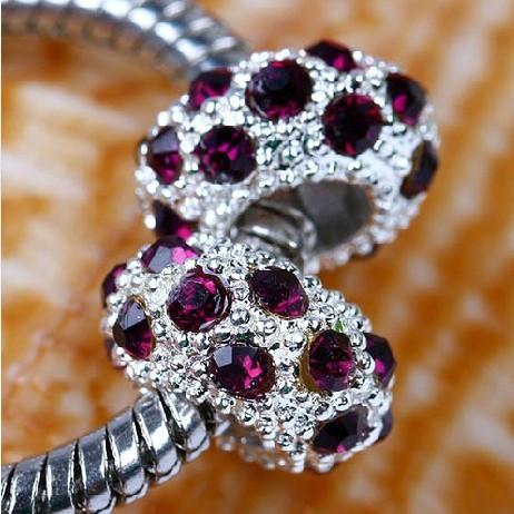 Crystal bead Free Shipping 1pc alloy bead with Czech Republic rhinestone Purple Fit pandora Silver Bead