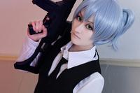 Assassination Classroom-Shiota Nagisa Cos Wig blue Straight Short 30cm Hair  Ponytail Anime Cosplay Wigs