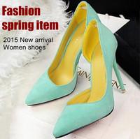 New arrival Spring autumn women leather shoes Fashion flock high heel shoes for Ladies women's pumps platform thin heel 11cm
