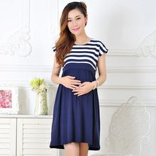 umstandsmode casual umstandskleid baumwolle mutterschaft kleidung plus size ledies streifen schwanger kleider vestido amarelo f425(China (Mainland))