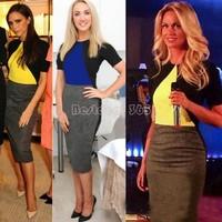 2015 New Women Bodycon Dress Business Party Vestidos Casual Wear To Work Sexy Sheath Pencil Dresses Size M-XL b9 CB036098
