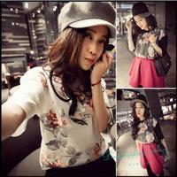 New Korean Women Summer Leisure Tops Sweet Floral Chiffon T-shirt short-sleeved T-shirt Woman Free Shipping