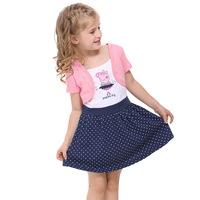 Hot Sale peppa pig dresses cotton vestidos baby girls dress dancing peppa kids clothes pink children clothing