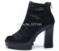 2015 spring fashion sexy bandage Full Grain Leather open toe shoe high-heeled single shoes female platform shoes