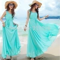 Summer full dress bohemia beach dress full dress chiffon one-piece dress female lady elegant summer dress