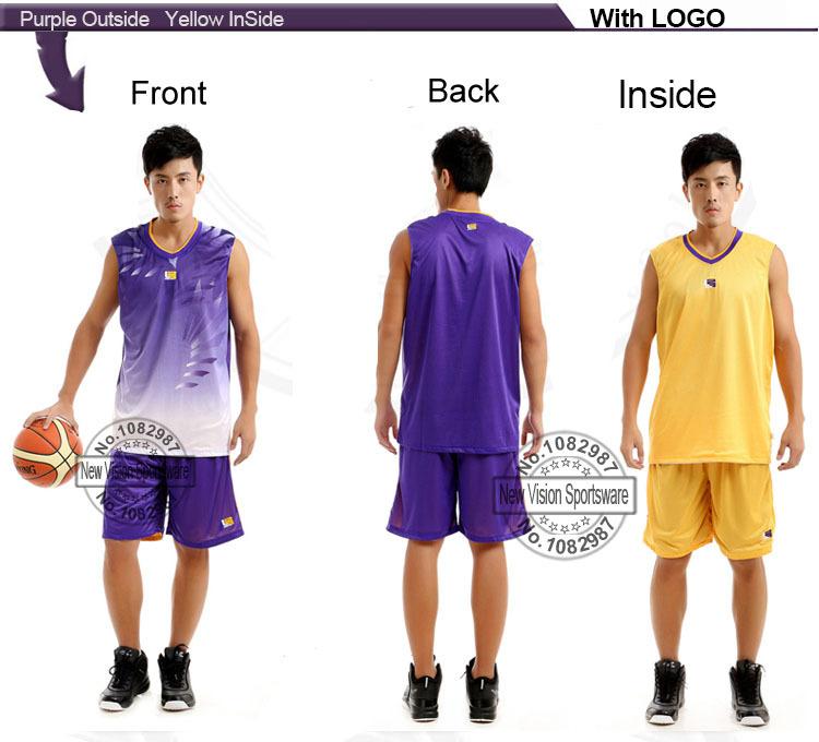 James Men Reversible Basketball Kit Set of Jersey & Shorts Customize Adult Team Training Outfit Basketball Shirt & Pant Uniform(China (Mainland))