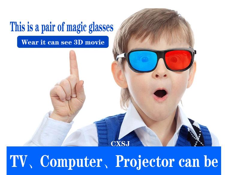 Red Blue Anaglyph Framed 3D Vision Glasses for Plasma TV Movie Dimensional #1JT(China (Mainland))