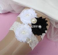 New Design Lace Trim White and Black Color Shabby Flower Wedding Lace Garter for Bridal Garter made of Shabby Flower Handmade
