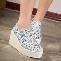 2015 Fashion Womens High Heeled Platform Sneakers Canvas Shoes Elevators White Blue High Top Casual Woman Shoes