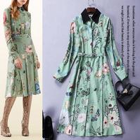Runway High Quality Designer Career Office Dress Ladies' Noble Long Sleeve Peter Pan Collar Floral Butterfly Printed Work Dress