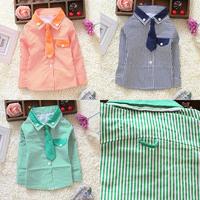 Toddler Kids Boys Striped Long Sleeve Dress Shirt W/Solid Necktie Tops S/M/L/XL