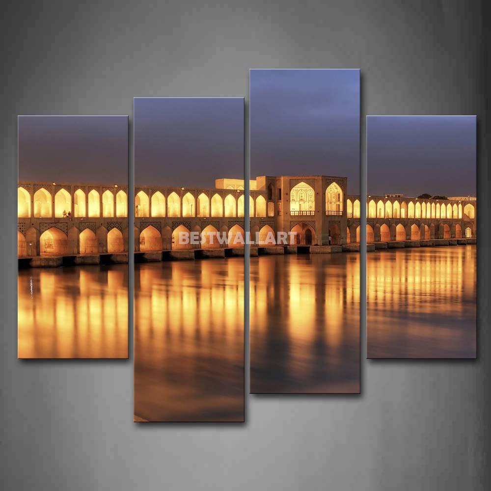 A ponte é muito longo e muitas pequenas túnel 4 peça pintura em tela de arte imprimir a imagem City 3 5 fotos(China (Mainland))