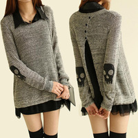 Winter Dress 2015 Spring Witner Skull Applique Twinset Women Knitwear with Chiffon Shirt Punk Sweater Pullover free Shipping