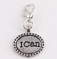 "50pcs/lot Silver "" i can "" letter charm Tag Floating Dangle Charms Pendant with Lobster clasp for Origami Owl Locket NO:0001"