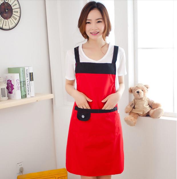 Waterproof Adjustable Apron Bib Uniform With 2 Pockets Hairdresser Kit Salon Hair Tool Chef Waiter Kitchen Cook Tool LNY077(China (Mainland))