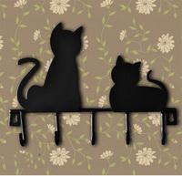 Hot sale Wrought iron Door hook 5 hooks metal coat hanging hook retro cute cat fashion hat clothes decorative wall hanger rack
