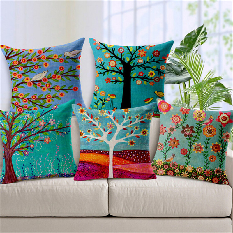 Hand Painted Flower Tree Print Cushion Covers For Sofa  : Hand Painted Flower Tree Print Cushion Covers For Sofa Cotton Linen Car Seat Home Decorative Cushion from www.aliexpress.com size 800 x 800 jpeg 268kB