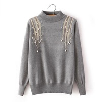 JY-603366 Europe wind fashion women's shoulders sequins bead turtleneck bottoming sweaters 583