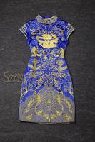 2015 summer sexy women one piece dress brand designer dresses qipao runway dress Blue fashion chinese dress