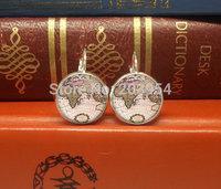 New arrival antique Vintage globe map dangles drop stud earrings 1pcs/lot handmade jewelry silver bronze for women 12mm/0.47inch