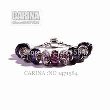 European charm Purple Crystal Glass Beads Fits Pandora Style Purple Bracelets Jewelry for women fashion Beads